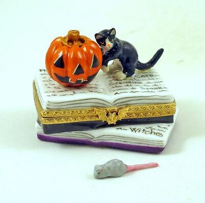 NEW FRENCH LIMOGES TRINKET BOX CAT JACK 'O' LANTERN PUMPKIN ON HALLOWEEN BOOKS (Limoges Halloween)