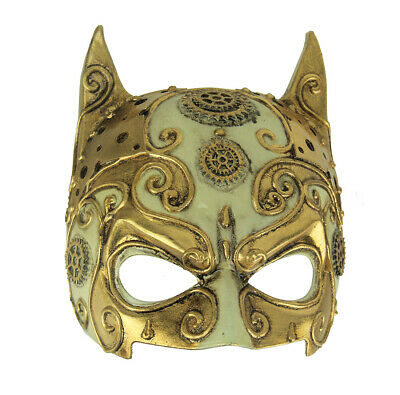 Fancy Gold Adult Halloween Steampunk Devil Mask