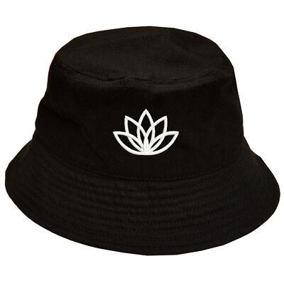 Buddhist Buddhism Lotus flower symbol 100% Cotton Bucket Cap Hat Black OSFM - Lotus Blossom Symbol