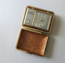 Vintage Phinney Walker Travel Alarm Clock With Box Wind Up Light Japan Cognac