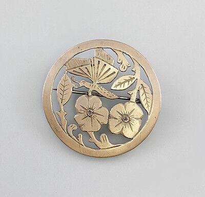 Kleine silberne Brosche Blumen Schmetterling 99825398