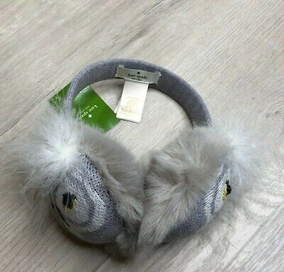 KATE SPADE WHO ME OWL EARMUFFS HEATHER GREY FEATHERS