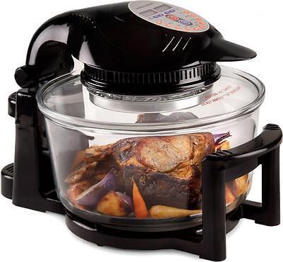 Andrew James Halogen Oven 12 LTR Premium Black Digital Cooker With Hinged Lid