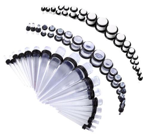 54 Pc Wholesale Lot Acrylic Body Jewelry Plugs Stretchers 00G-14G White Clear