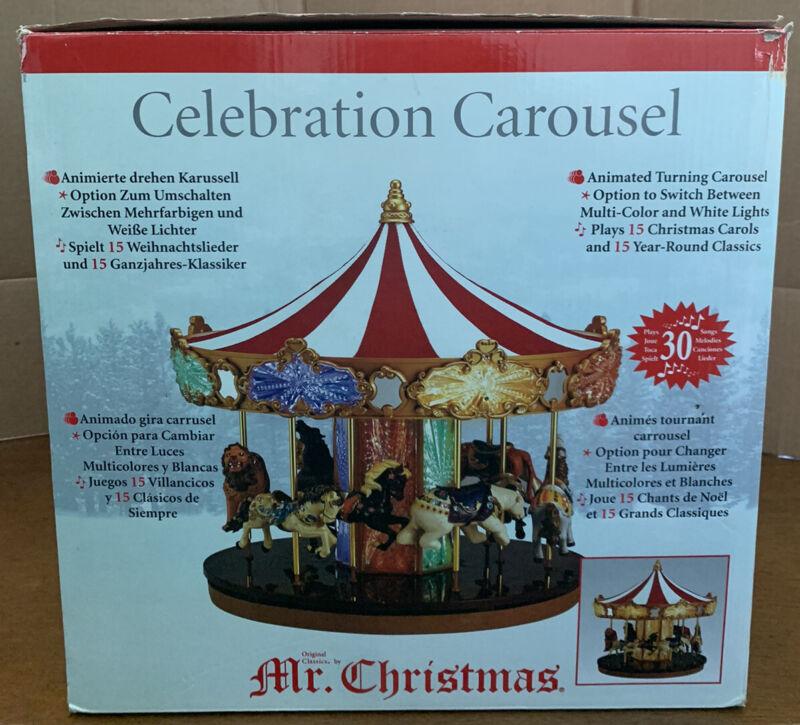 Mr Christmas 2014 Celebration Carousel #19756 NIB Animated Plays 30 Songs, Works