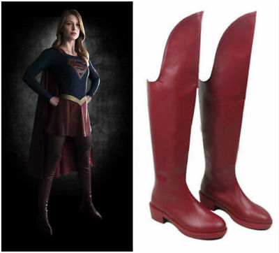 Supergirl Overknee Boots Kara Danvers Cosplay Red Heels Shoes Women Custom Made  - Red Supergirl Boots