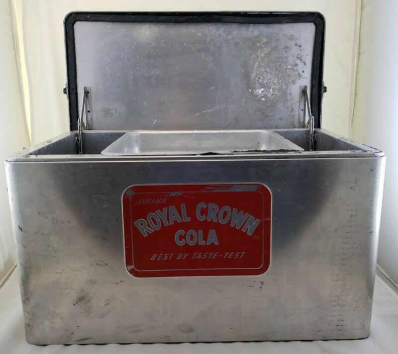 Rare Logo Vintage Royal Crown Cola Metal Cooler Ice Chest Hinged Lid w Tray