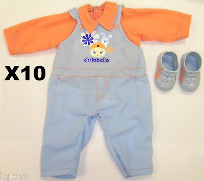 JOB LOT OF 10 NEW BABY BOYS DOLL CLOTHES AND SHOES FOR CICCIOBELLO BABY DOLL
