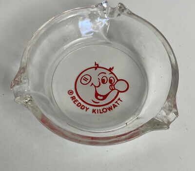 Vintage Clean Reddy Kilowatt Glass Ashtray Tobacco Advertising Electrical