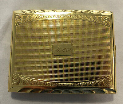 Vintage Used Gold Tone Cigarette Case Made in Germany With Elvis Sticker On Back