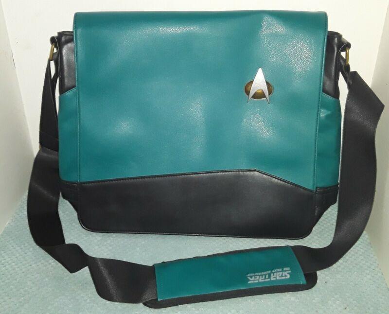 StarTrek TNG Blue Science Officer uniform Messenger laptop Bag metal commbadge