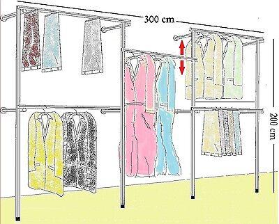 Profi Kleiderständer Kleiderstange Wandregal Gardeobe Textilregal 300x200 cm W06