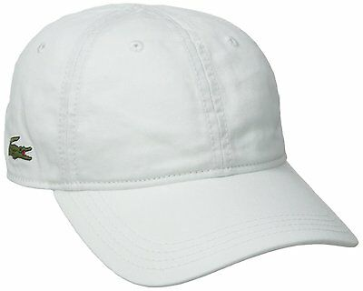NEW LACOSTE MEN'S PREMIUM COTTON CROC LOGO BASEBALL ADJUSTABLE HAT CAP WHITE