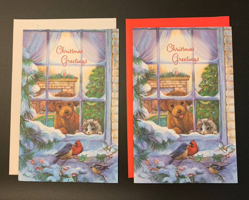Lot of 2 Christmas Cards Gallant puppy kitten birds new with envelopes - alike