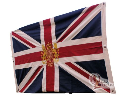 Authentic Wovenmagic Large Bright Union Jack Flag with Royal Coat of Arms Crest