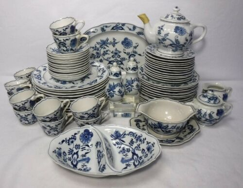 BLUE DANUBE china 68-piece SET SERVICE for 12 (less 2 salads) + 8 Serving Pieces