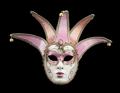 Mask from Venice Volto Jolly Pink and Golden 5 Spikes for Fancy Dress 152 V62