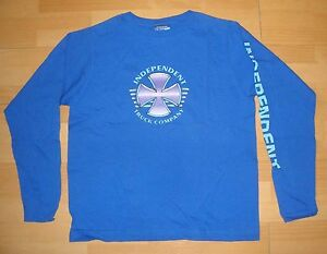 INDEPENDENT-CAMIONES-Manga-Larga-Skate-Camiseta-Pequeno-Azul