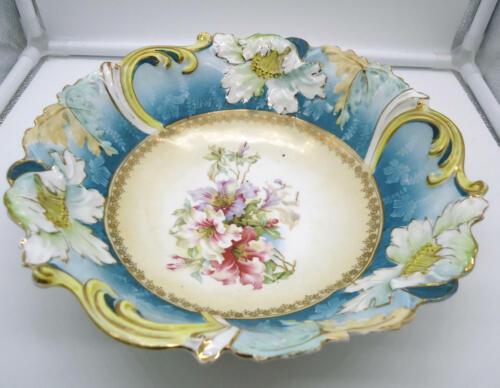 Antique Germany Saxe Altenburg Art Nouveau Serving Bowl - Azaleas Center Design
