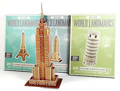Vier 3D-Bausätze berühmter Bauten: Empire State, Eiffelturm, Pisa, Taj Mahal