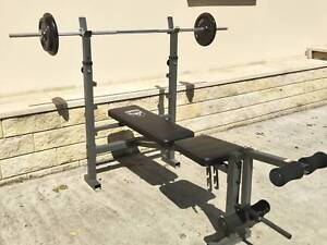 Adjustable torros weight bench with barbell and plates included