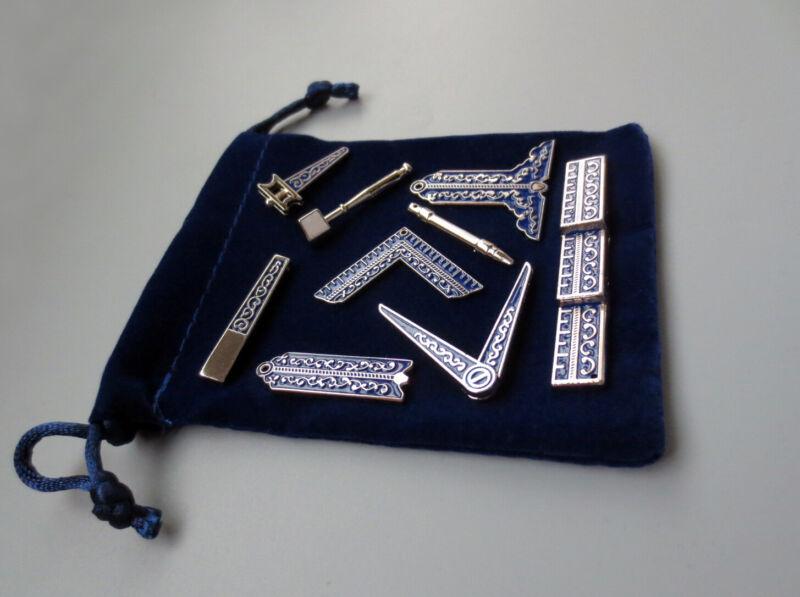 Set of 9 different Blue Masonic Working Tools Badge with velvet Bag Mason