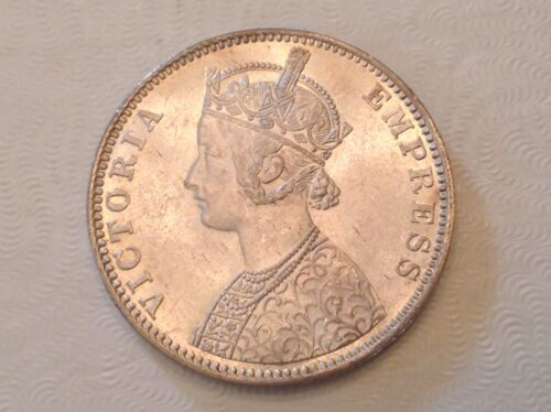 - 1901 B British India Victoria One Silver Rupee  ANACS MS 62 Uncirculated Unc