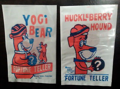 Yogi Bear & Huckleberry Hound Vintage Fortune Teller (2) NOS Hanna Barbera 1977