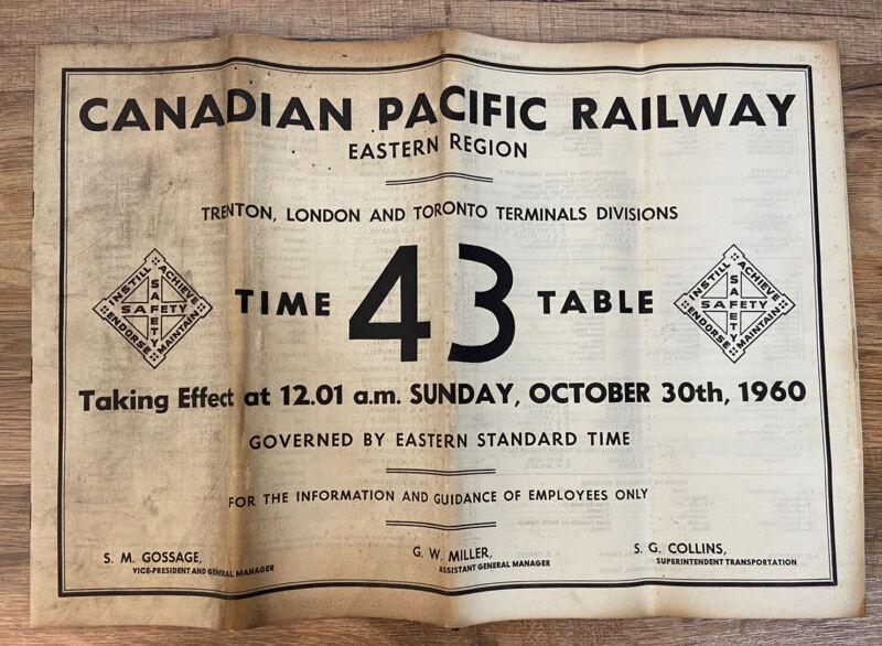 Vintage Canadian Pacific Railway Employee Timetable 43 Trenton London Toronto