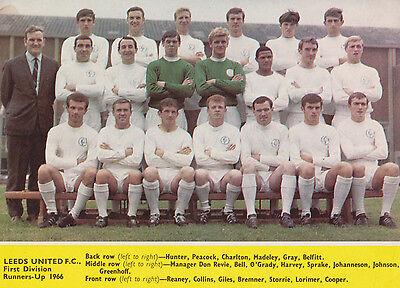LEEDS UNITED FOOTBALL TEAM PHOTO 1965-66 SEASON