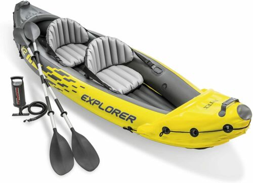 Intex Explorer K2 Kayak 2-Person Inflatable Set with Oars and Air Pump Yellow