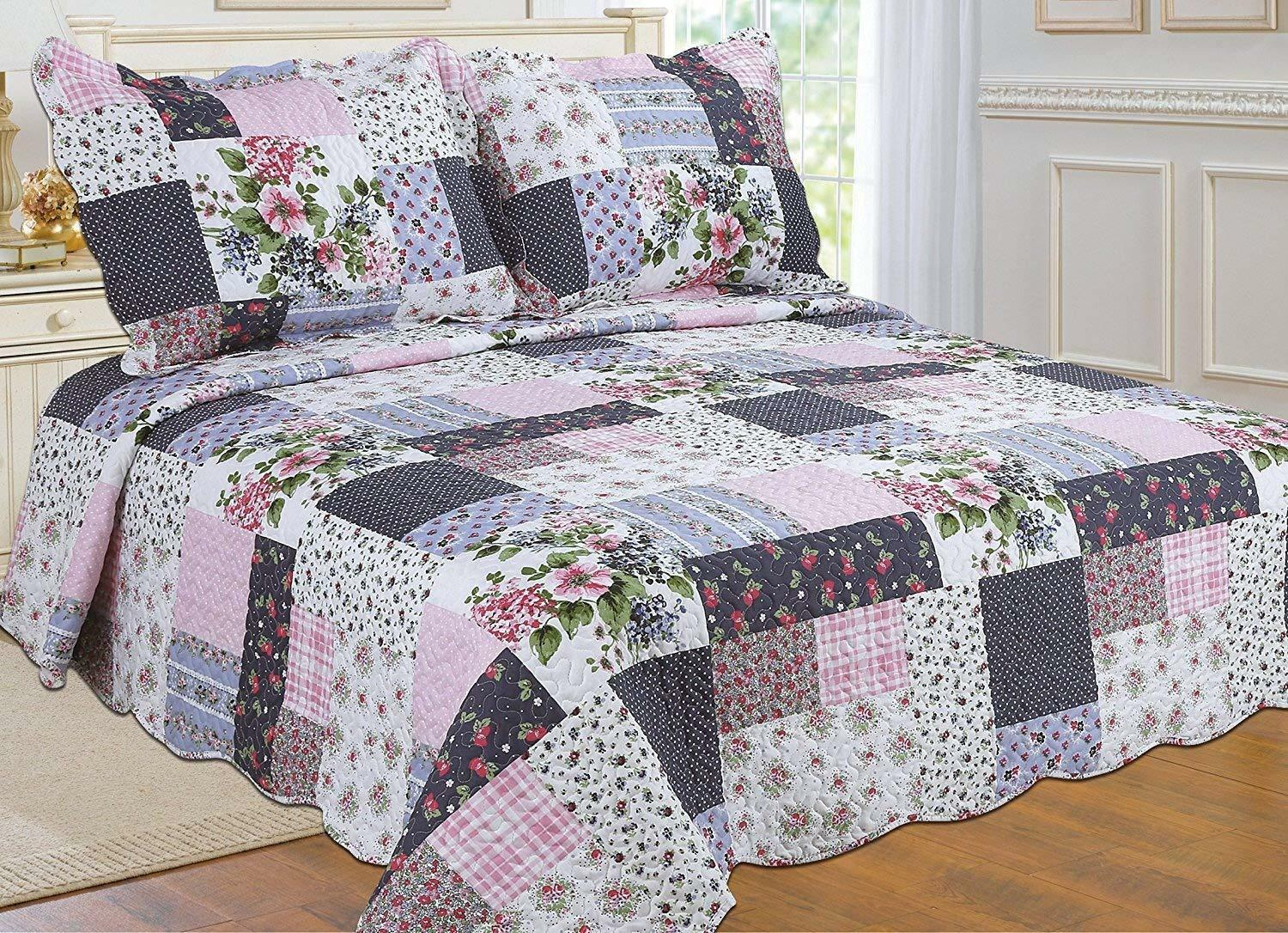 ALL FOR YOU Reversible Bedspread, Coverlet,Quilt *98* Flower