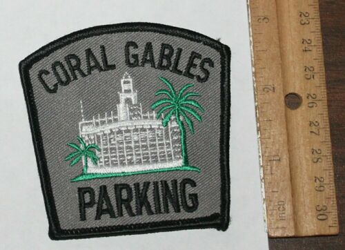 CORAL GABLES PARKING Florida City Hall FL Fla PD Palm Trees patch