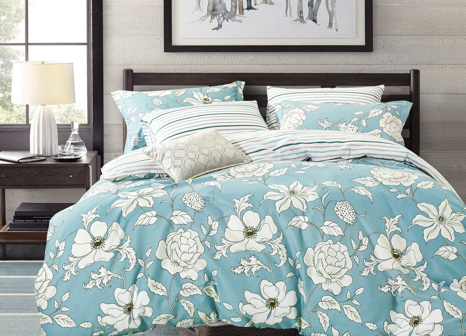 Aiking Home 3PC 100 Cotton Printed Duvet Cover Set Queen Size MultiStyle