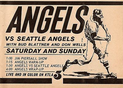 1965 KTLA BASEBALL TV AD~SEATTLE ANGELS~PACIFIC COAST LEAGUE~JIM PIERSALL SHOW