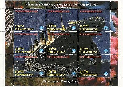 HONOURING THE TITANIC TUKMENISTAN 1997 MNH STAMP SHEETLET