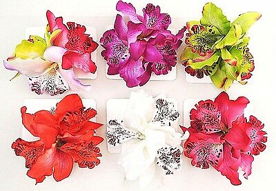 Hawaiian Flower Hair Clips & Brooch 6 PCs - 2 in 1 Orchid Flowers *US