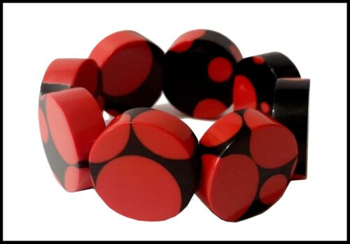 FRENCH CHUNKY RESIN EXPANDABLE STRETCHY BRACELET WITH DOTS - BLACK RED