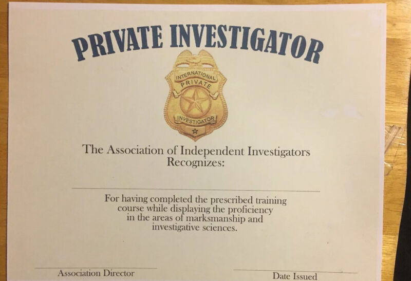 Private Investigator Certificate-Comes Blank Fill In Own Information