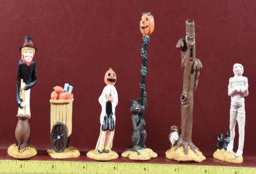 Halloween Village Accessories Ghost Witch Cat Pumpkins Unique Skinny 6 piece lot