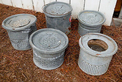 Vintage Lot Of 5 Minnow Buckets For Repurpose Use Or Lamps