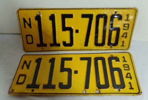 1941 North Dakota License Plate Pair