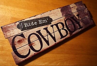 RIDE EM COWBOY SIGN Rustic Country Western Boots Horse Barn Ranch Home Decor NEW