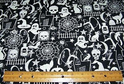 1 yard of Halloween GHOSTS BATS CATS WEBS SPIDERS on BLACK 100% cotton fabric