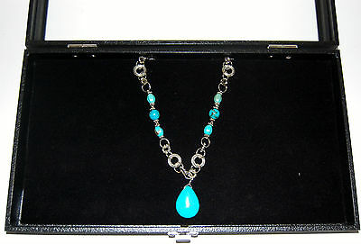 Wood Glass Top Jewelry Display Case Showcase With Black Padded Insert Latch