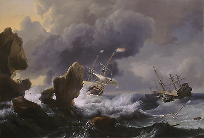 Dutch Ships in Distress off a Rocky Coast, Ludolph Backhuysen Canvas