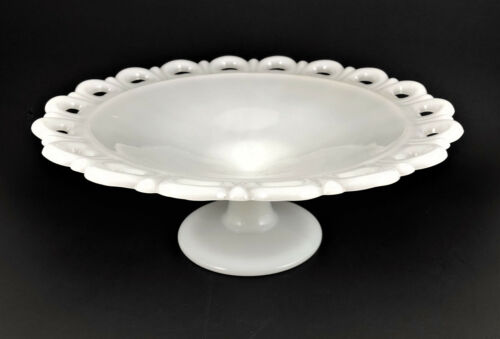 """Vintage Anchor Hocking Old Colony Lace Edge Milk Glass Compote Footed Bowl 11"""""""