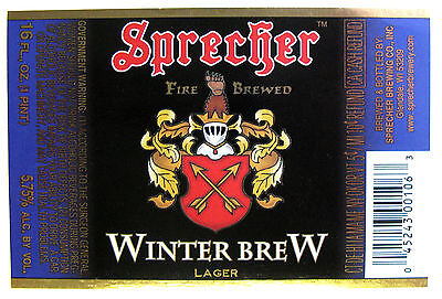 Sprecher FIRE BREWED WINTER BREW beer label WI 16 oz