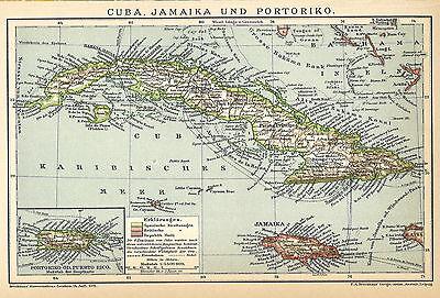 Alte historische Landkarte 1898: Cuba, Jamaika und Portoriko. Puerto Rico (B14) ()