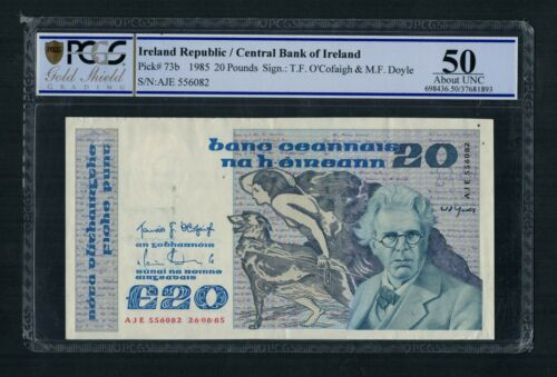 Irish Banknote AU 1985 20 Pounds PCGS Certified About UNC 50